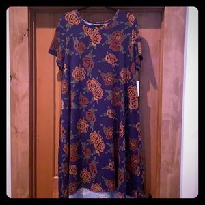 LulaRoe Carly, navy with rust roses, size 2X-nwt